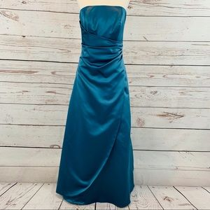 David's Bridal Aline blue fit and flare formal